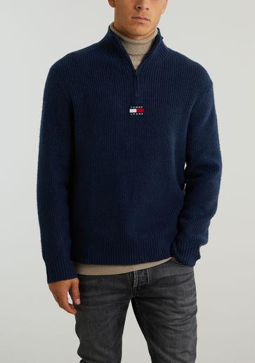 Tommy Jeans TJM Solid Badge Zip Mock Neck
